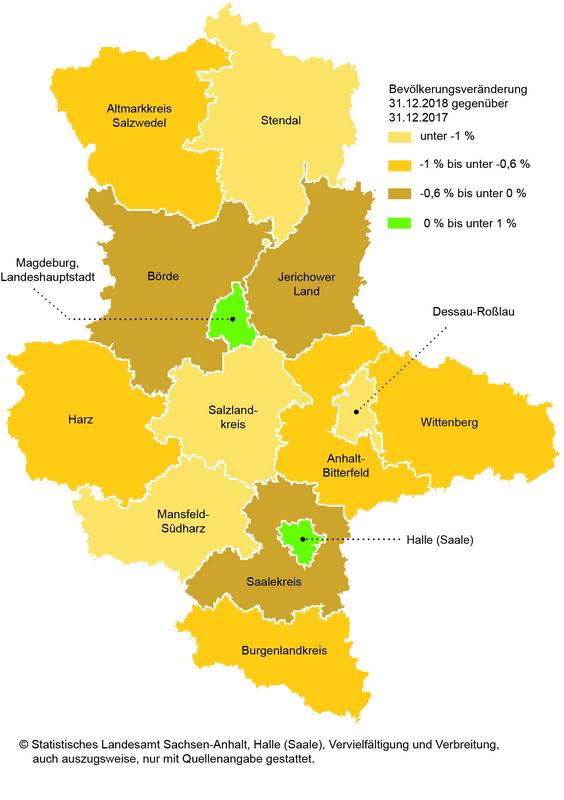 Karte Sachsen Anhalt.Statistisches Landesamt Am 31 12 2018 Lebten In Sachsen Anhalt 2